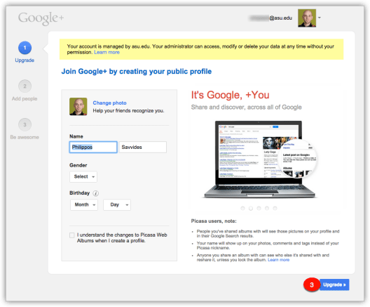Google+ Signup page