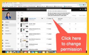 Change permissions screen shot