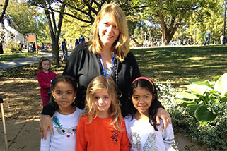 Linda with Mindfulness elementary students