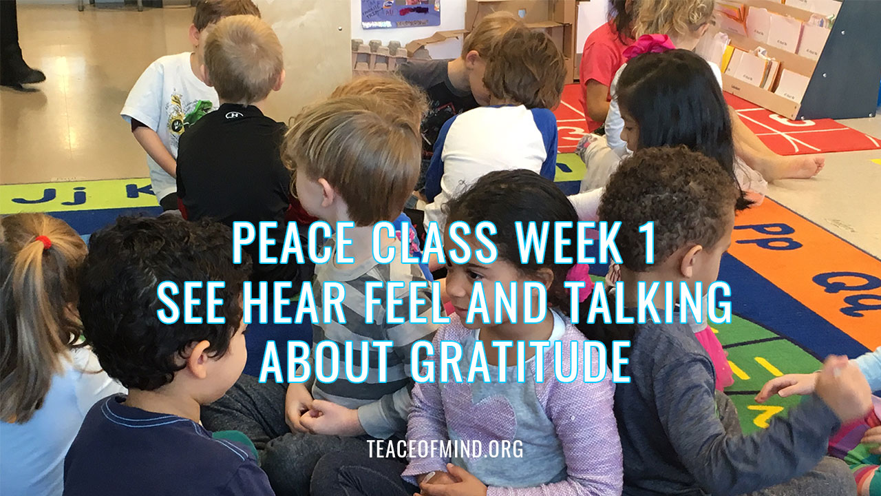 Peace Class Week 1 See Hear Feel and Talking about Gratitude
