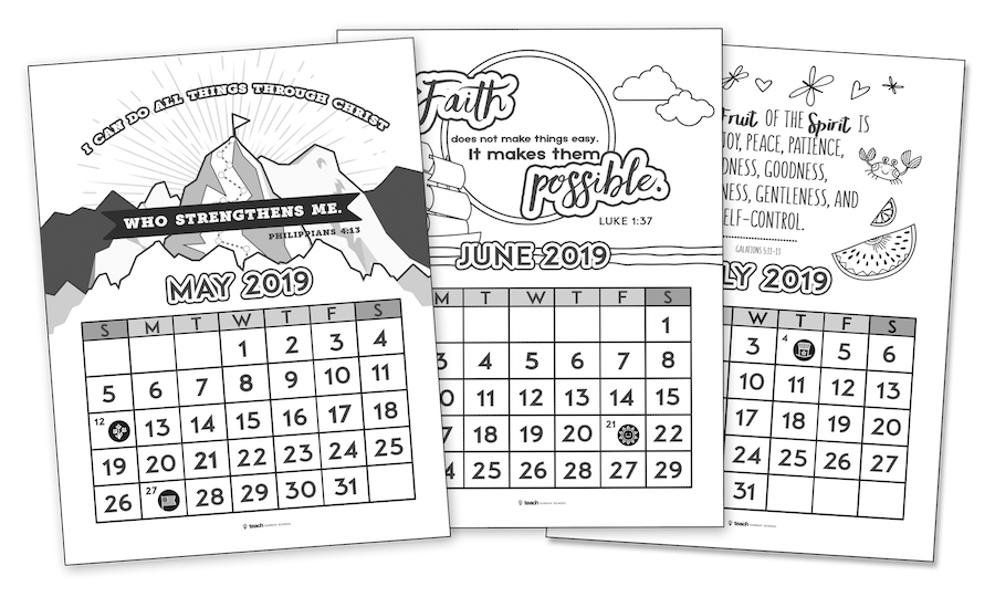 Printable Christian Calendar — Teach Sunday School