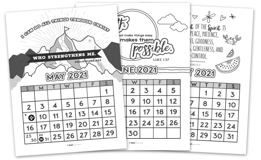 Printable Christian Calendar — Teach Sunday School