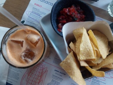 Raw Soul juice and chips with fresh salsa!