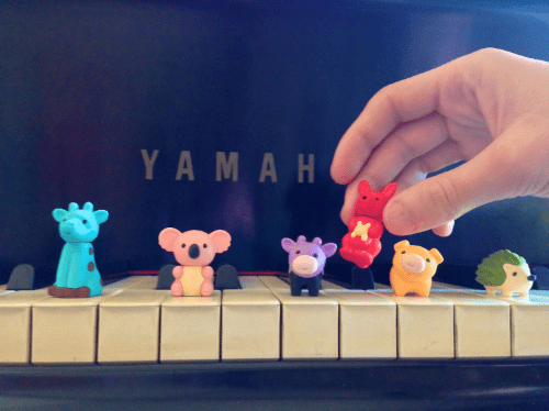 The next Must-Have is a set of  Japanese Puzzle Erasers . I suggest a starting with a minimum of 10, but you can never have too many. (I have at least 100 of them.)  The ways to use these  are endless and limited only by your imagination. They fit perfectly on the keys. Every student perks up when I bring them out. Yours will too! My students are particularly fond of the  Hedgehogs . Sometimes the erasers are available in  overstock in bulk .