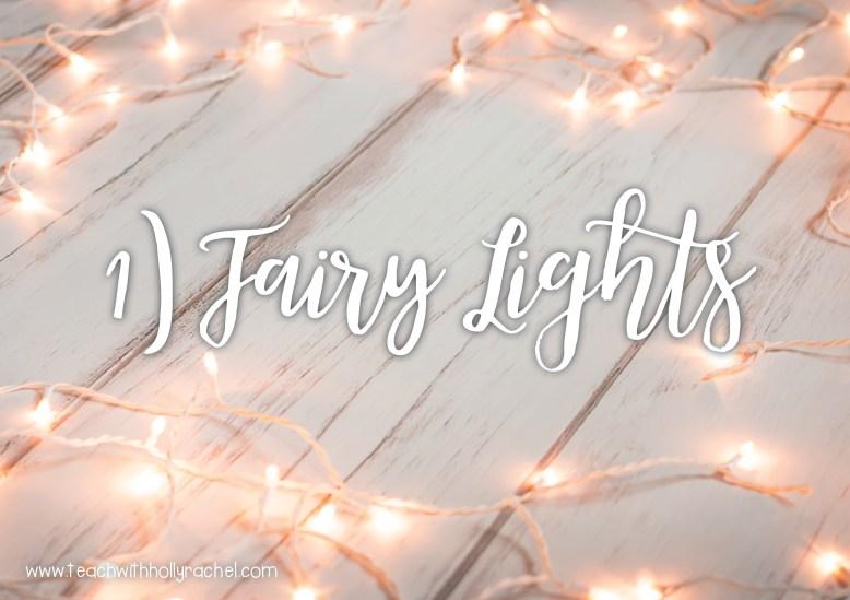 hygge classroom fairy lights