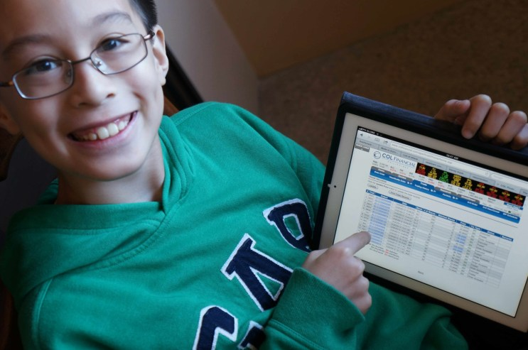 Elijah today...checking on his stocks portfolio