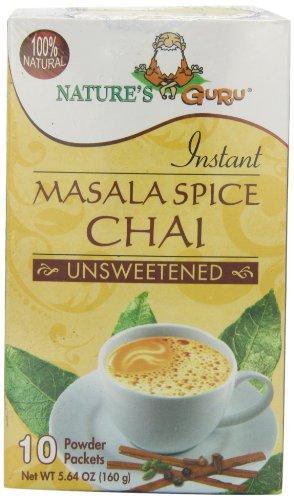 Nature's Guru Instant Unsweetened Chai, Masala Spice, 10-Count