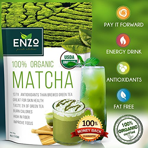 Organic Green Tea Powder – MATCHA – 100% USDA Certified – 137x Natural ANTIOXIDANTS – For Green Tea Latte, Smoothie, Ice Cream and Baking – HIGH FIBER – Long-lasting Energy – Boost Skin Health – Anti-Aging Solution – Coffee Substitute – Natural Detox – Boost Metabolism (4oz)