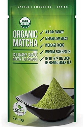 Kiss Me Organics – Matcha Green Tea Powder – ORGANIC – All Day Energy – Green Tea Lattes – Smoothies – Baking – Improved Hair & Skin Health- Metabolism Boost – Antioxidant Rich – Now From Japan!