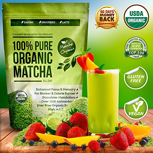100% USDA Organic Matcha Green Tea Powder Extract – Fat Burner & Weight Loss Diet Supplement & Metabolism Booster – Natural Detox All Day Energy & Mental Focus – Latte, Smoothie, Shake & Baking Mix – Vegan Superfood – Coffee Substitute – Improved Hair & Skin Health (4oz)