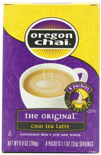 Oregon Chai Original Chai Tea Latte Powdered Mix, 8-Count Envelopes 1.1 oz (31g)  (Pack of 6)