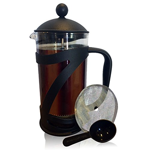 LUX ESSENTIALS French Press Set – 34 Ounce Capacity – Coffee Press and Tea Maker with Replacement Screen and Measuring Spoon! Iced Coffee Maker For Coffee or Tea