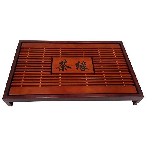 Artpot High Quality Reservoir Type Bamboo Tea Tray Tea Edge Bamboo Gongfu Teatray Chinese Kungfu Tea Set 16.9*11.8*2.4 Inch