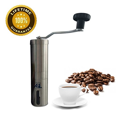 Hand Coffee Grinder Stainless Steel – Excellent Manual Crank Mill From I Love Coffee AFL Products. Take Our Portable Travel Burr Bean Grinders to Work / Camping / Outdoors – Compact Quiet Easy to Clean with Free Brush and Bag. Aeropress Compatible. Have Your Fresh Coffee Wherever You Want!