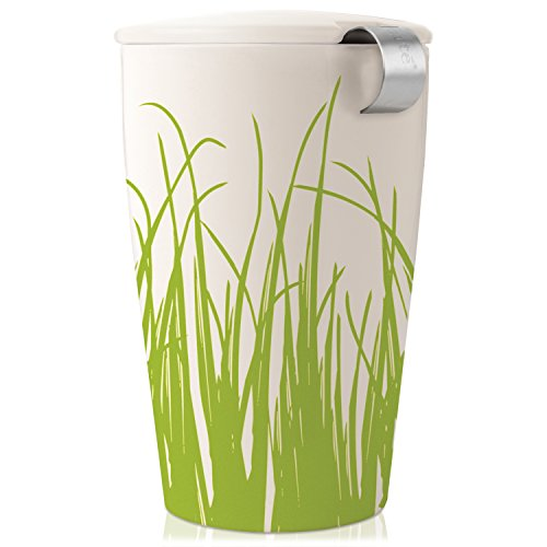Tea Forte KATI Single Cup Loose Leaf Tea Brewing System, Insulated Ceramic Mug with Tea Infuser and Lid, Spring Grass