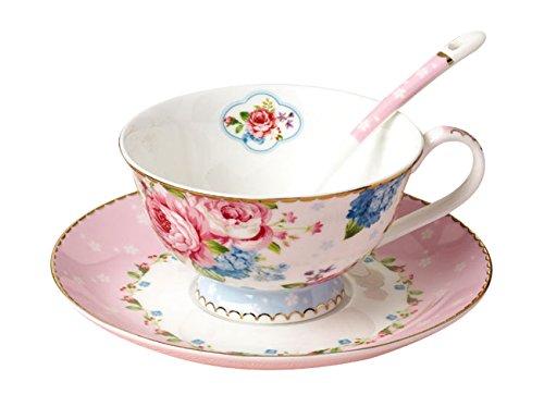 Jsaron Porcelain Tea Coffee Cup Romantic Rose Series with Spoon and Saucer Set Coffee Mug