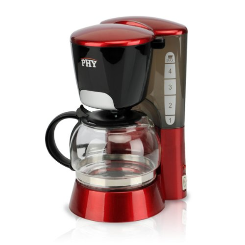 PHY 4-cup/0.6l Switch Espresso Coffee Maker / Coffeemaker with Glass Carafe & Permanent Filter & Semi Transparent Water Tank, Red