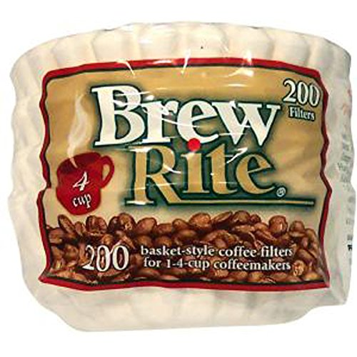 Brew Rite 4 Cup Coffee Basket Disposable Filters – 200 Ct
