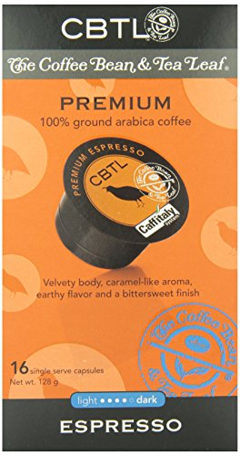 CBTL Premium Espresso Capsules By The Coffee Bean & Tea Leaf, 16-Count Box
