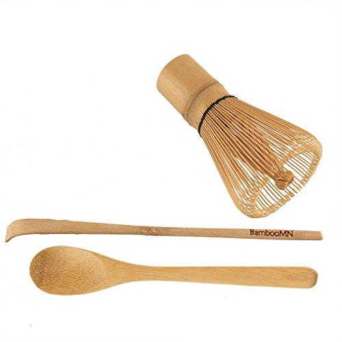 1x BambooMN Brand – Chasen (Tea Whisk) + Chashaku (Hooked Bamboo Scoop) for preparing Matcha + Tea Spoon
