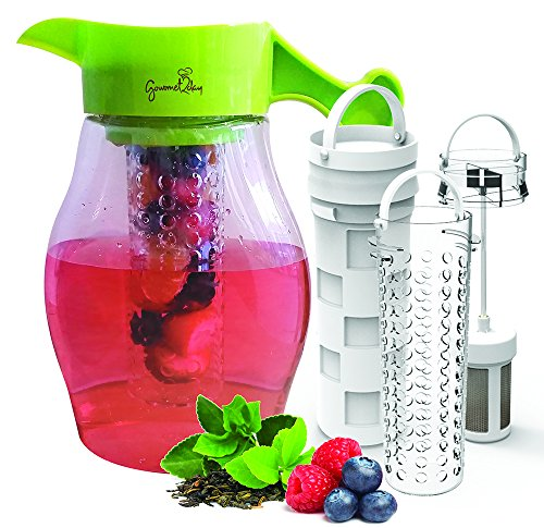 Fruit and Tea Infuser Pitcher – Free Infusion Recipe Ebook – Gourmet2day Triple Infusion Pitcher Includes 3 Interchangeable Infusers for Fruit, Tea and Ice to enhance the flavor of beverages