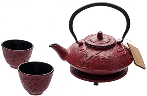 New Star International T8080 Cast Iron Bamboo Tea Set with Trivet, 27 Ounce, Red