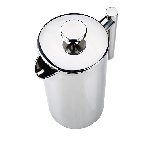 MSRM European Double Wall Stainless Steel Coffee Press Pot French Press(1 Liter) (1L)