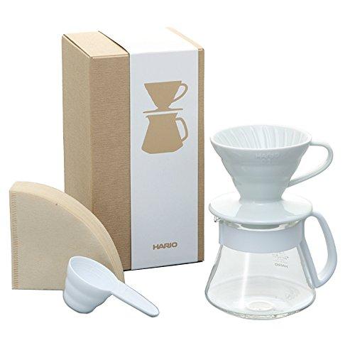 Hario V60 Color Coffee Dripper and Pot, White