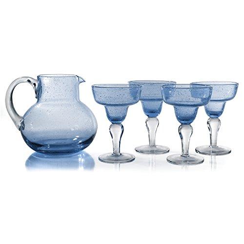Artland Iris Light Blue Seeded Glass 2.8 Quart Pitcher with 4 Piece 8 Ounce Margarita Glass Set