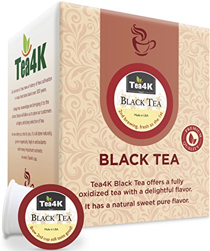 36 Count Tea4k Black Tea Single Serve Cups for Keurig K-Cup Brewer, Gluten Free, Non-GMO Certified, Made in USA