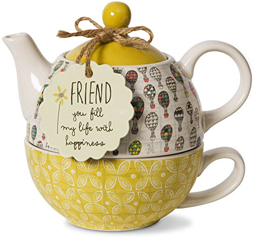 Pavilion Gift Company Friend Ceramic Teapot and Cup for One, 15 oz, Multicolored