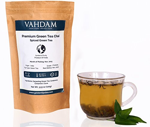Premium Masala Chai Green Tea- Organic and Pure Darjeeling Loose Leaf with The Best Indian Spices. Very Rich in Antioxidants and High on Health Benefits. (Makes 40-45 Cups)- 3.53oz- By VAHDAM