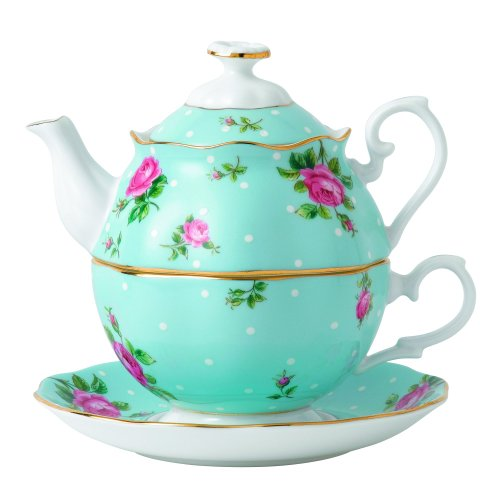 Royal Albert China New Country Roses Polka Blue Tea for One, White