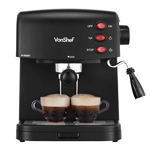 VonShef 15 Bar Pump Espresso Coffee Maker Machine – Create Espressos, Lattes, Cappuccinos & More!