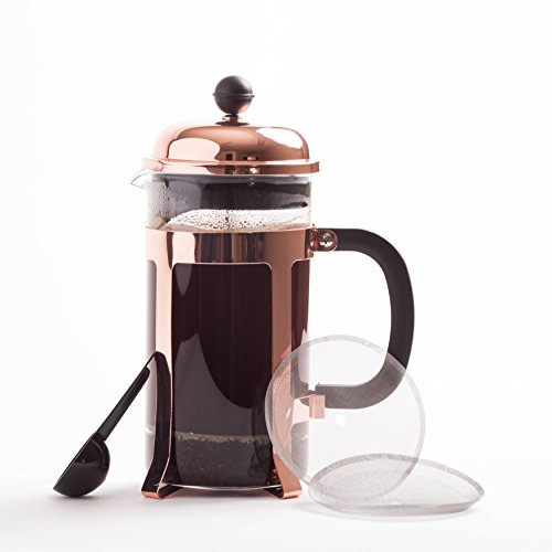 Copper French Coffee Press and Tea Maker Heat Resistant Glass Café Crush Club's-Avignon WITH Stainless Plunger, Double Screens & 2 Replacements, Grounds Scoop 34oz/1000ml/8cup to Top of Carafe