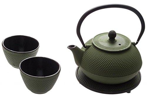 New Star International T8030 Cast Iron ARR Tea Set with Trivet, 21 Ounce, Green