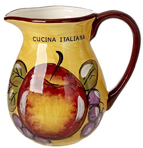 Original Cucina Italiana Ceramic Pitcher Honey Yellow w/Apple Decor