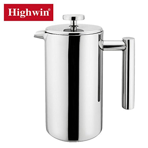 Highwin 8-Cup/35-Ounce Double Wall Insulated Stainless Steel French Coffee Press, Durable Coffee Tea Maker with Stainless Steel Plunger