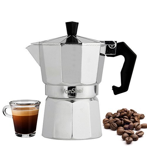 VonShef 3 Cup Italian Espresso Coffee Maker Stove Top Macchinetta – Includes FREE replacement gasket & filter.