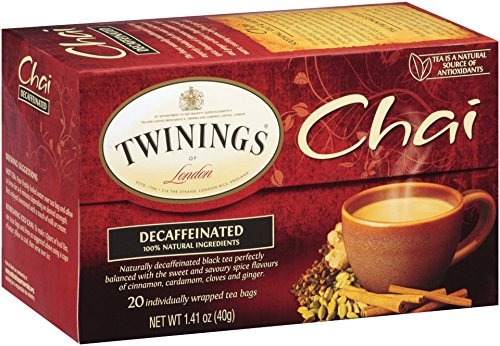 Twinings Chai Tea, Decaf Chai Tea, 20 Count Bagged Tea (6 Pack)