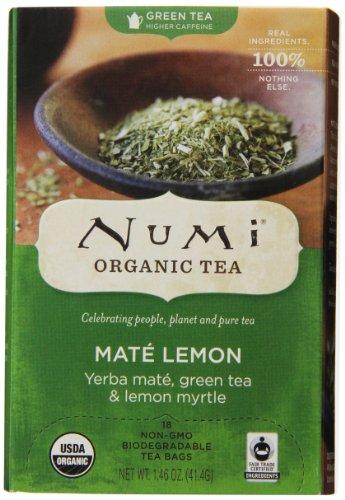 Numi Organic Tea Mate Lemon, Yerba Mate, Green Tea and Lemon Myrtle, 18 Count Tea Bags