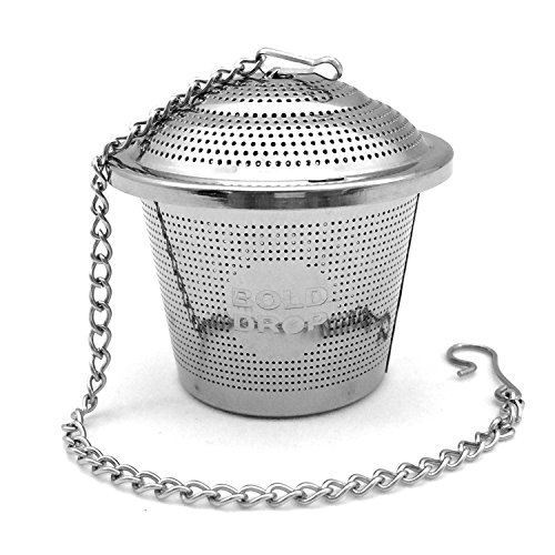 BoldDrop Extra Fine Loose Leaf Tea Infuser / Stainless Steel Filter with Extended 7″ Chain (1 pack)