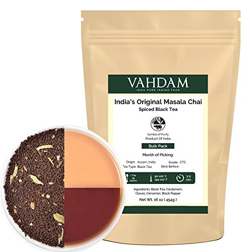Vahdam India's Original Masala Chai – Spiced Chai Tea,16 Oz (Makes 230-250 Cups) – Delicious Blend of Assam CTC Black Tea- Cardamom, Cinnamon, Black Peppercorn & Cloves – Perfect Tea for Chai