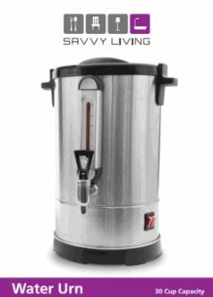 Savvy Commercial Living Hot Water Urn 40 Cups Brushed Stainless Steel Metal, Double Insulated, Safety Lid Lock, Boil Protection, Add Water on YomTov On Off Switch for Hot Coffee Tea and Cocoa 17″ High