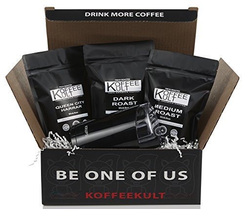 Koffee Kult Coffee Gift Basket – Variity of 3 Whole Bean Coffee – Dark Roast – Medium Roast – Harrar Coffees with Krups Coffee Grinder