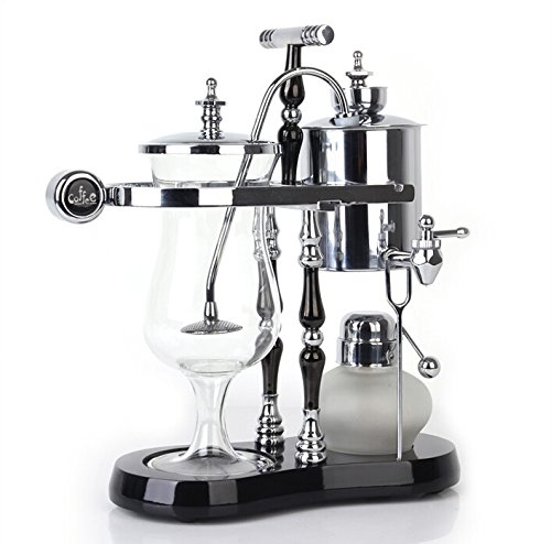 DGCoffee Belgian Belgium Luxury Royal Family Balance Syphon Coffee Maker Classic Double Column Top Grade, Classic and Elegant Design (Silver)