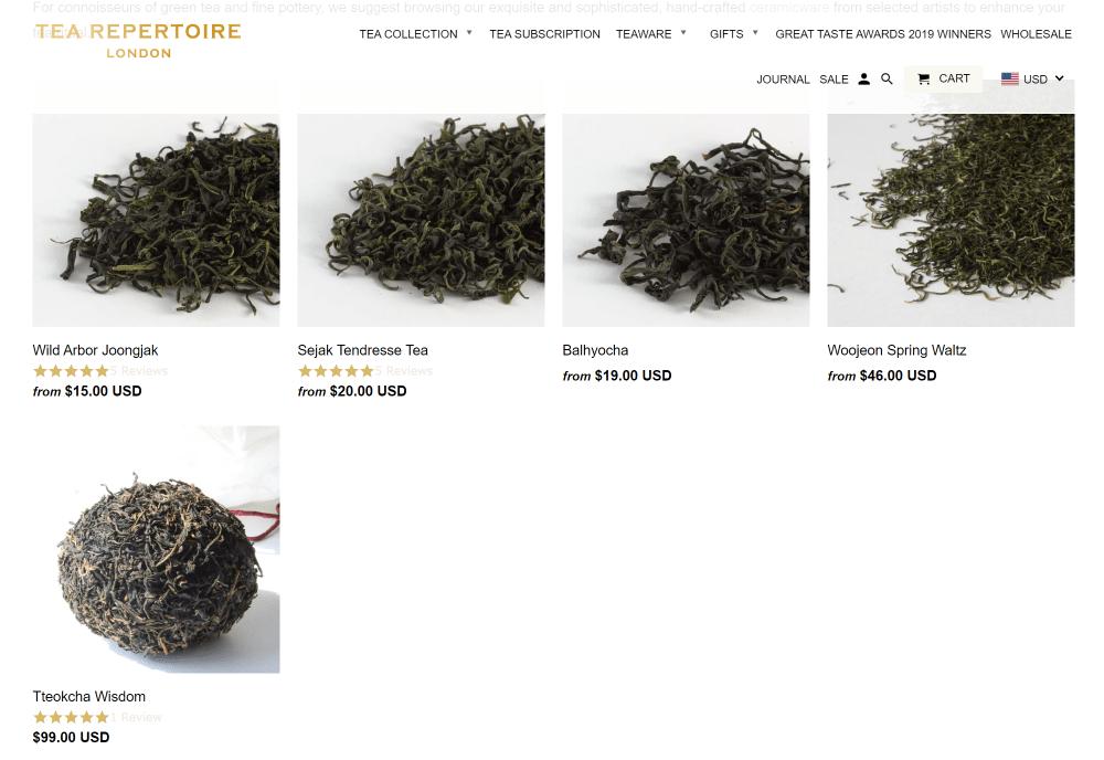 Korean tea tea repertoire