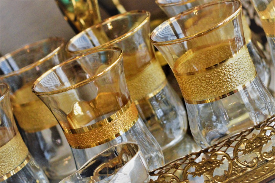 Gold tea glasses!