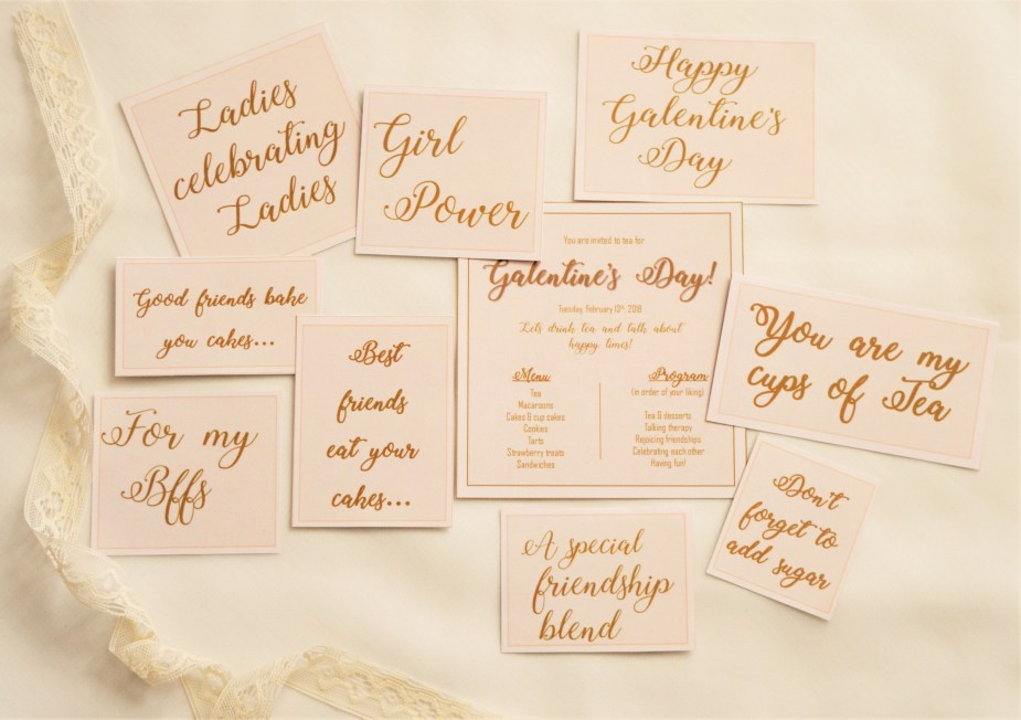 Galentine's labels and tags