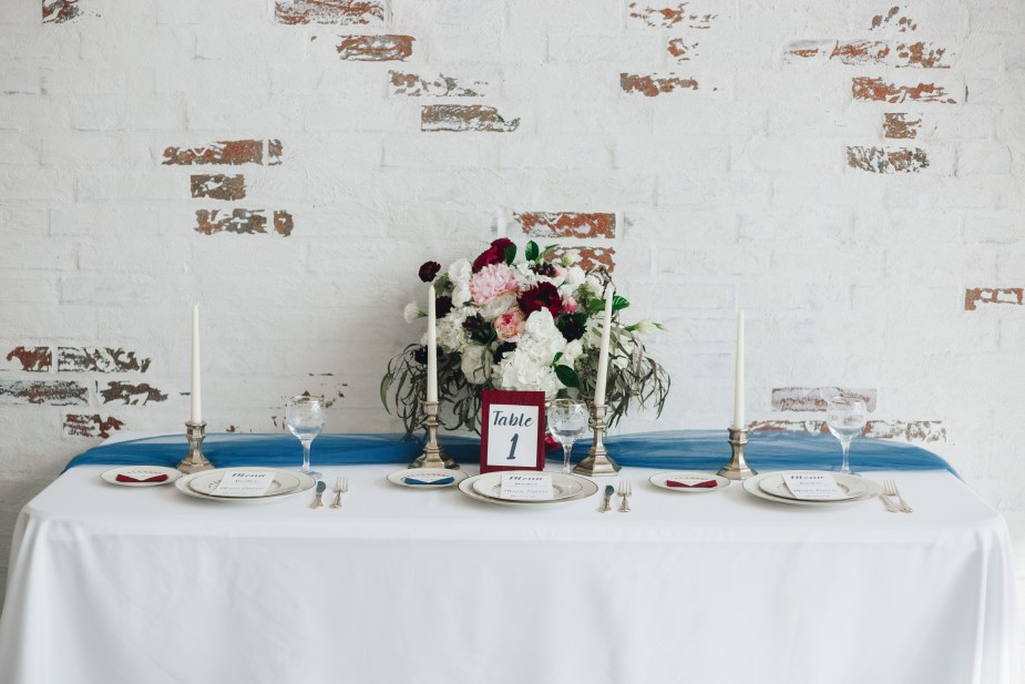 Tablescape with white wash backdrop